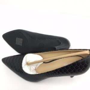 Charcoal Dorothy Embossed Leather Pumps